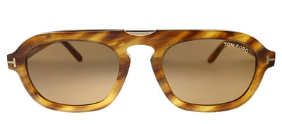Tom Ford TF 736 55E Pilot Plastic Light Havana Sunglasses with Brown Gradient Lens