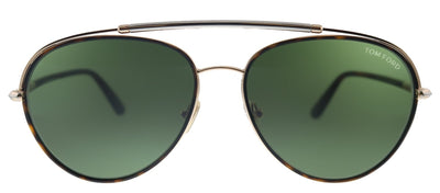 Tom Ford Curtis TF 748 52N Pilot Metal Shiny Rose Gold Sunglasses with Green Lens