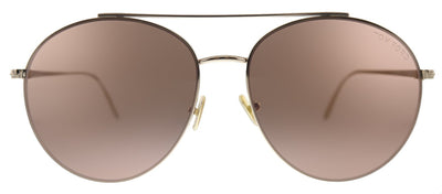 Tom Ford Cleo TF 757 28Y Round Metal Shiny Rose Gold Sunglasses with Pale Pink Lens