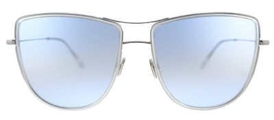 Tom Ford Tina TF 759 16W Square Metal Shiny Palladium Sunglasses with Blue Gradient Lens