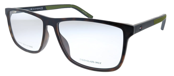 Tommy Hilfiger TH 1696 N9P Rectangle Metal Matte Havana Eyeglasses with Demo Lens
