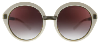 Tory Burch TY 9060U 183413 Round Plastic Off White Sunglasses with Brown Gradient Lens