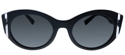 Valentino VA 4039 500187 Oval Plastic Black Sunglasses with Grey Lens