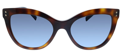 Valentino VA 4049 50118F Cat-Eye Plastic Havana Sunglasses with Blue Gradient Lens