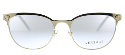 Versace VE 1268 1252 Oval Metal Pale Gold Eyeglasses with Demo Lens