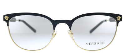 Versace VE 1268 1261 Oval Metal Matte Black Gold Eyeglasses with Demo Lens