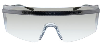 Versace VE 2208 10016G Shield Metal Gunmetal Sunglasses with Silver Mirror Lens