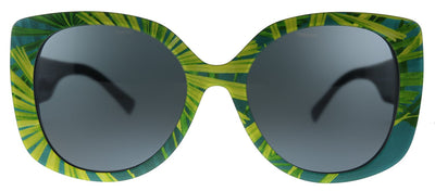 Versace VE 4387 533687 Rectangle Plastic Print Palms Sunglasses with Grey Lens