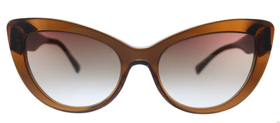Versace VE 4388 53240P Butterfly Plastic Transparent Brown Sunglasses with Orange Gradient Lens