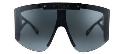 Versace VE 4393 GB1/87 Shield Plastic Black Sunglasses with Grey Lens