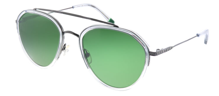 Original Penguin PE Shady CR Aviator Plastic Clear Sunglasses with Green Polarized Lens