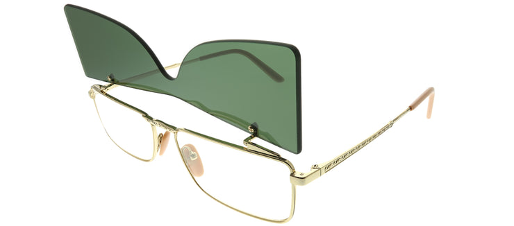 Gucci GG 0363S 001 Rectangle Metal Gold Sunglasses with Green Lens