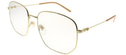 Gucci GG 0396S 001 Square Metal Gold Sunglasses with Transparent Lens