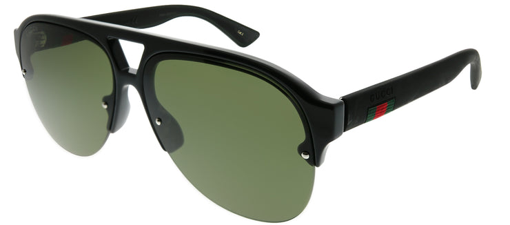 Gucci GG 0170S 001 Aviator Plastic Black Sunglasses with Green Lens