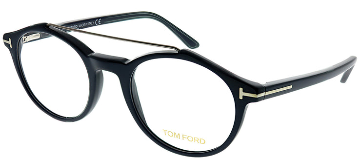 Tom Ford FT 5455 090 Round Plastic Blue Eyeglasses with Demo Lens