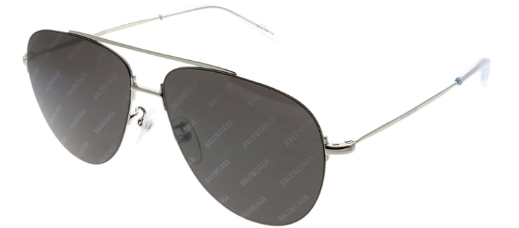 Balenciaga BB 0013S 004 Aviator Metal Silver Sunglasses with Grey Mirror Lens