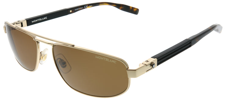 Montblanc MB 0033S 003 Rectangle Metal Gold Sunglasses with Brown Lens