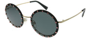 Valentino VA 2010B 300387 Round Metal Gold Sunglasses with Grey Lens