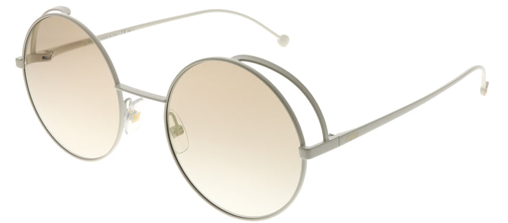 Fendi FF 0343 VK6 EB Round Metal Ivory/ White Sunglasses with Brown Gold Fendi Logo Lens