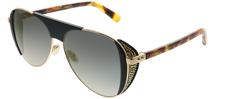 Jimmy Choo JC Rave J5G FQ Aviator Metal Gold Sunglasses with Gold Lens