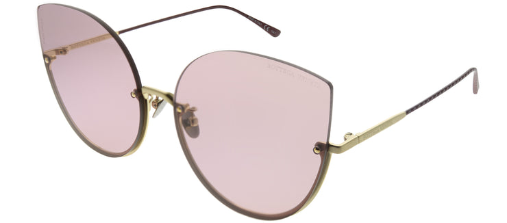 Bottega Veneta BV 0204S 004 Cat-Eye Metal Gold Sunglasses with Pink Lens