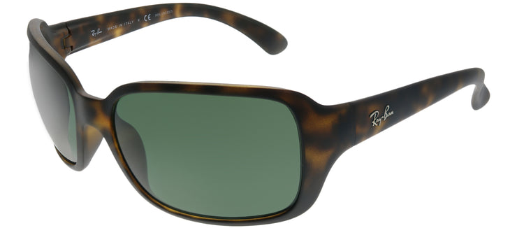 Ray-Ban RB 4068 894/58 Rectangle Plastic Tortoise/ Havana Sunglasses with Green Polarized Lens