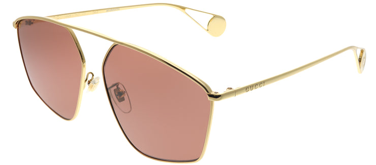 Gucci GG 0437SA 001 Geometric Metal Gold Sunglasses with Red Lens