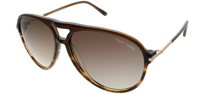 Tom Ford FT 0254 50F Aviator Plastic Tortoise/ Havana Sunglasses with Brown Gradient Lens