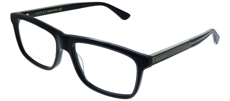 Gucci GG 0384O 001 Square Plastic Black Eyeglasses with Logo Stamped Demo Lenses Lens