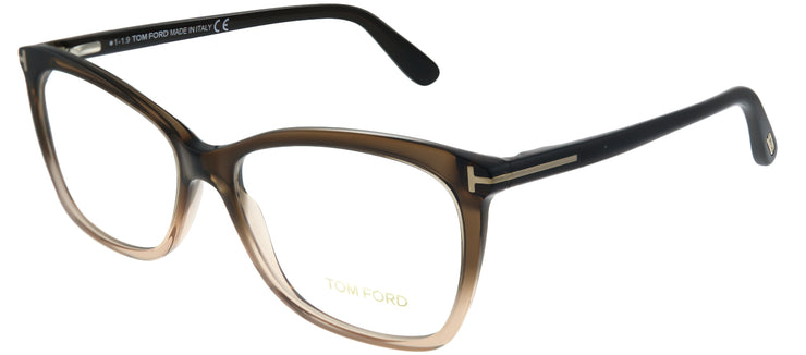Tom Ford FT 5514 050 Transparent Brown Cat Eye Plastic Brown Eyeglasses with Demo Lens