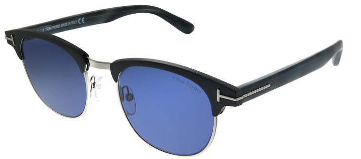 Tom Ford TF 623 09V Round Plastic Grey Sunglasses with Blue Gradient Lens