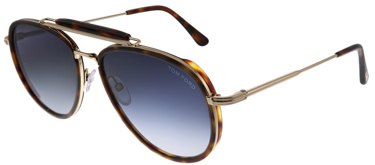 Tom Ford TF 666 54W Pilot Metal Tortoise/ Havana Sunglasses with Blue Gradient Lens