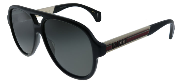 Gucci GG 0463S 002 Aviator Plastic Black Sunglasses with Grey Polarized Lens