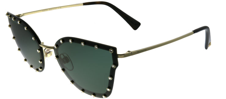 Valentino VA 2028 300371 Butterfly Metal Gold Sunglasses with Green Lens
