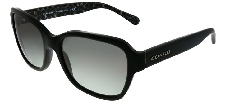 Coach HC 8232 551011 Rectangle Plastic Black Sunglasses with Dark Grey Gradient Lens