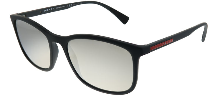 Prada Linea Rossa PS 01TS DG02B0 Rectangle Plastic Black Sunglasses with Silver Mirror Lens