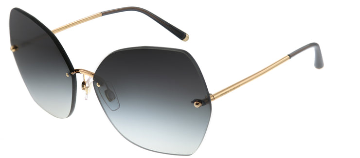 Dolce & Gabbana DG 2204 12988G Geometric Metal Gold Sunglasses with Light Grey Gradient Lens