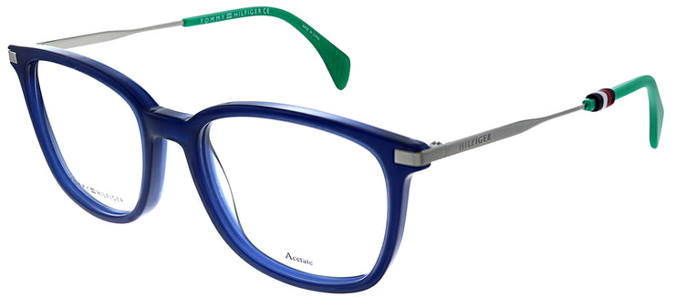 Tommy Hilfiger TH 1558 PJP Rectangle Plastic Blue Eyeglasses with Demo Lens