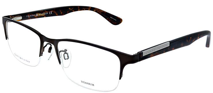 Tommy Hilfiger TH 1583F 4IN Square Metal Brown Eyeglasses with Demo Lens