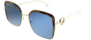 Fendi FF 0294 J5G Square Metal Gold Sunglasses with Blue Lens