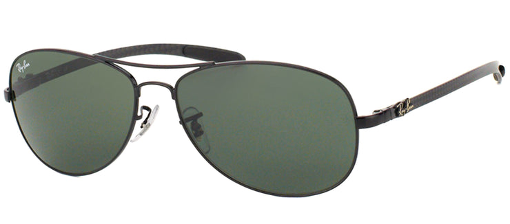 Ray-Ban Cockpit RB 8301 002 Aviator Carbon Fibre Black Sunglasses with Crystal Green Lens