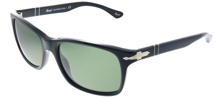 Persol PO 3048S 95/31 Rectangle Plastic Black Sunglasses with Crytal Green Lens