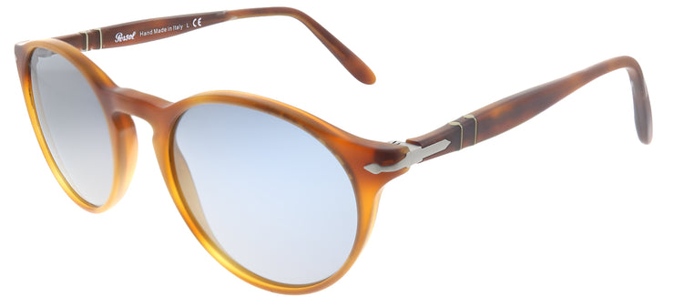 Persol PO 3092SM 900656 Round Plastic Brown Sunglasses with Blue Lens