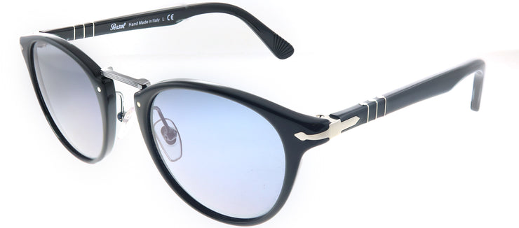 Persol PO 3108S 95/56 Round Plastic Black Sunglasses with Light Blue Lens