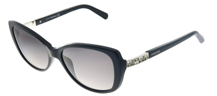 Swarovski SK 0124 01B Cat-eye Plastic Black Sunglasses with Grey Gradient Lens