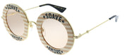 Gucci GG 0113S 009 Round Plastic Gold Sunglasses with Pink Lens