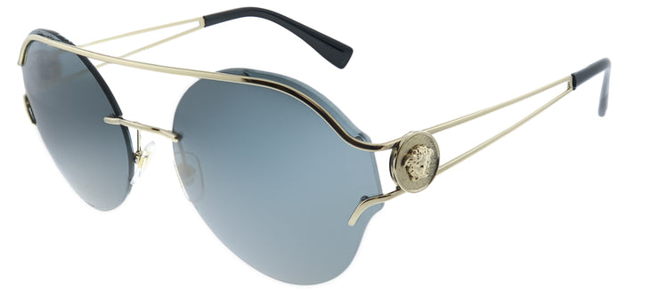 Versace VE 2184 125287 Round Metal Gold Sunglasses with Grey Lens