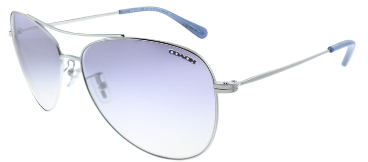 Coach HC 7079 90017B Aviator Metal Silver Sunglasses with Silver Mirror Lens