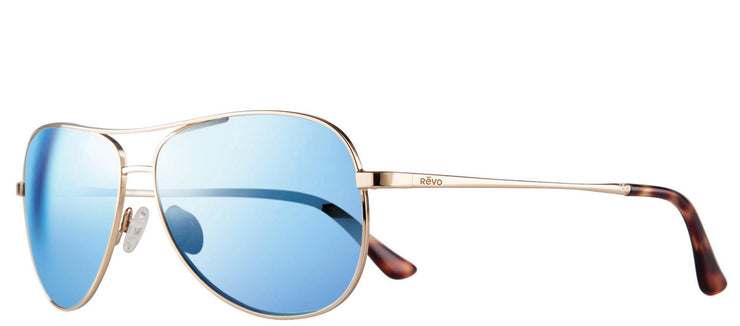 Revo RE 1014 04 BL Aviator Metal Gold Sunglasses with Blue Water Polarized Lens