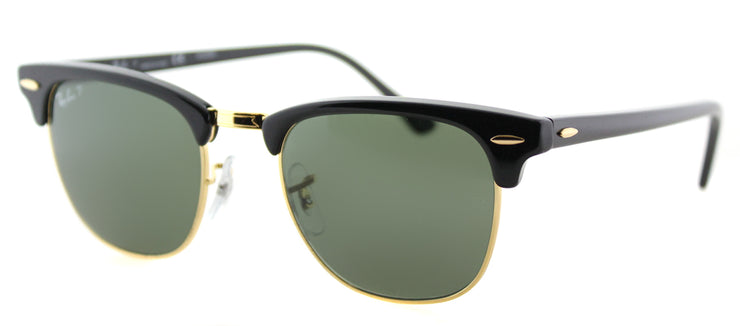 Ray-Ban RB 3016 901/58 Clubmaster Plastic Black Sunglasses with Green Polarized Lens